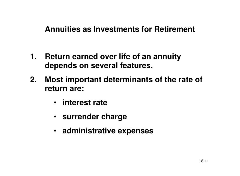 Annuities as Investments for Retirement