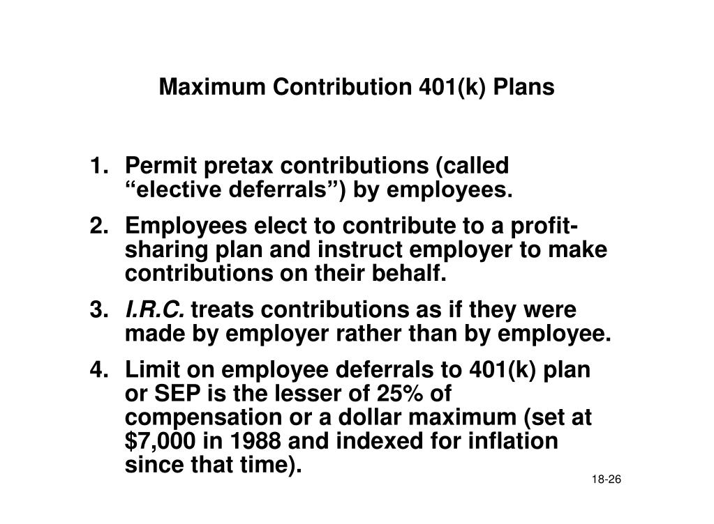 Maximum Contribution 401(k) Plans