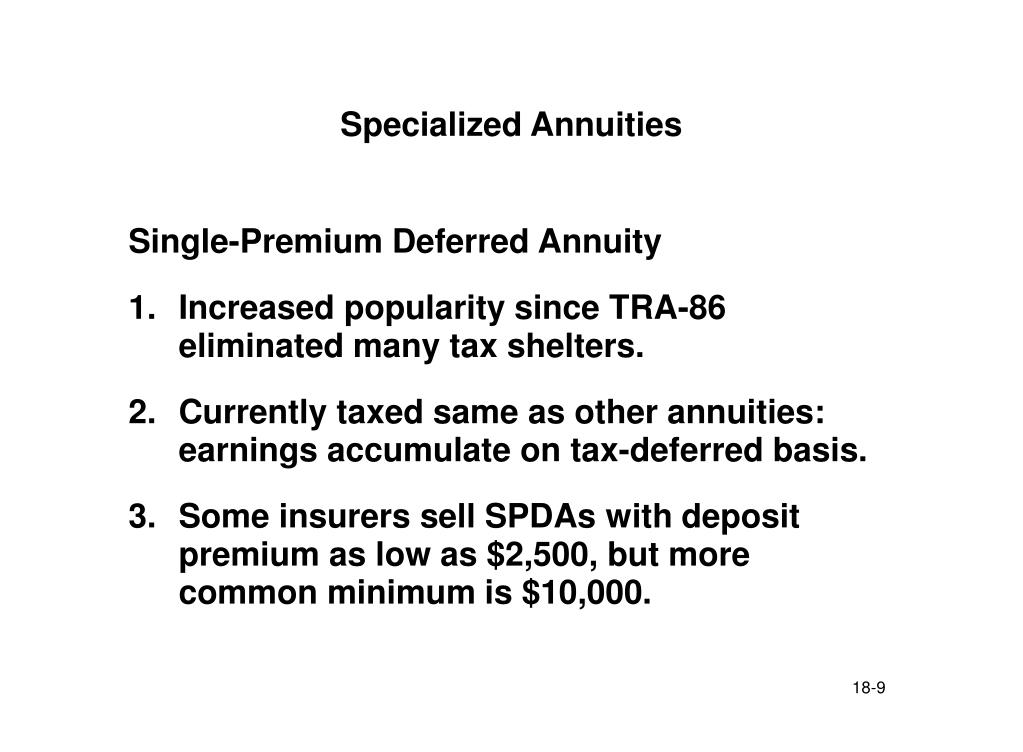 Specialized Annuities