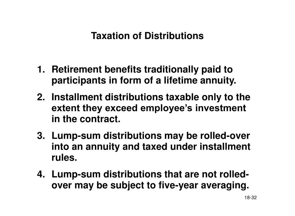 Taxation of Distributions