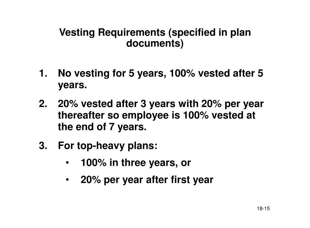 Vesting Requirements (specified in plan documents)