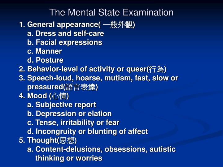 The Mental State Examination
