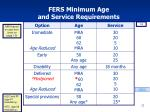fers minimum age and service requirements