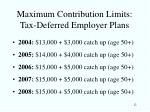 maximum contribution limits tax deferred employer plans