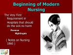 beginning of modern nursing
