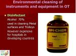 environmental cleaning of instruments and equipment in ot