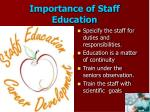 importance of staff education