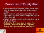 procedure of fumigation