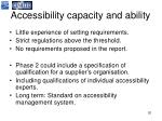 accessibility capacity and ability