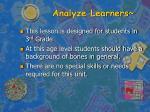 analyze learners