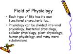 field of physiology