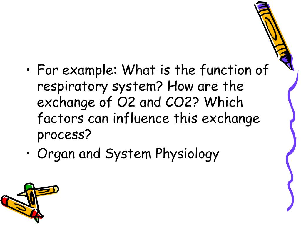For example: What is the function of respiratory system? How are the exchange of O2 and CO2? Which factors can influence this exchange process?