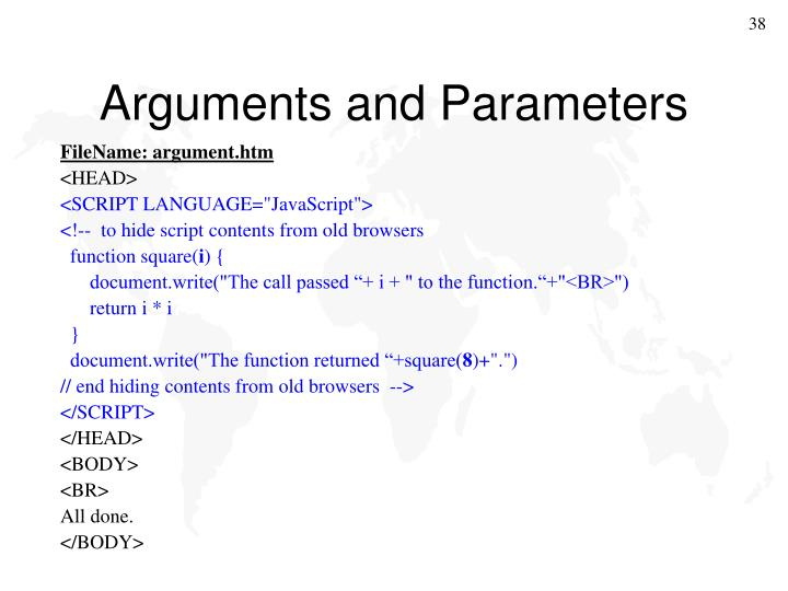 Arguments and Parameters