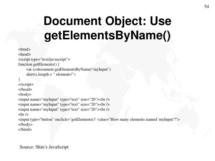 Document Object: Use
