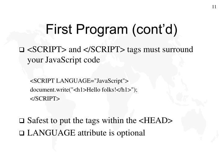 First Program (cont'd)