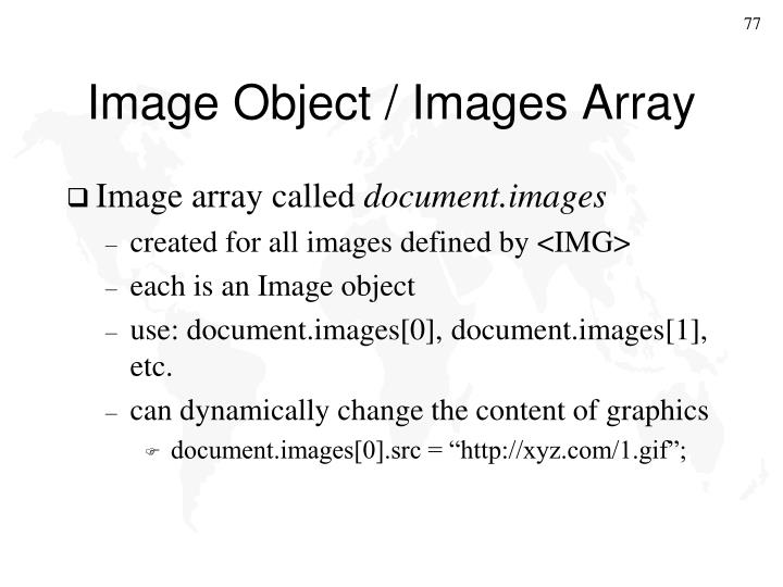 Image Object / Images Array