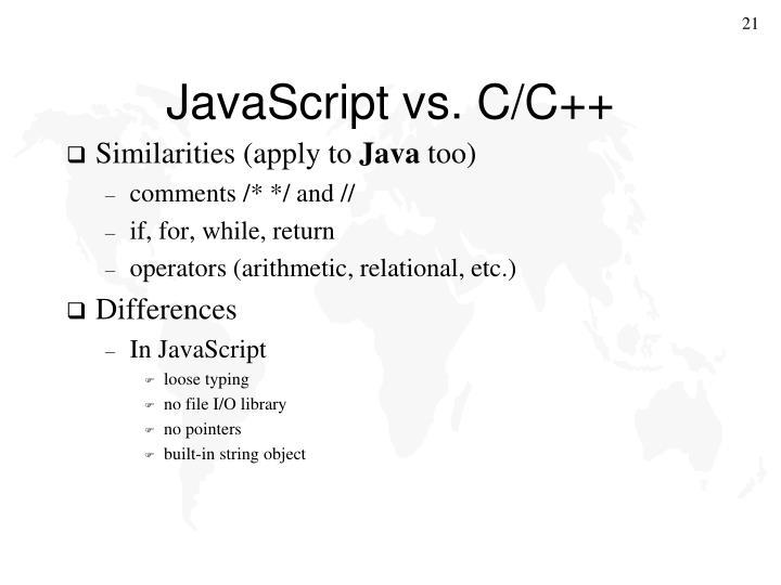 JavaScript vs. C/C++
