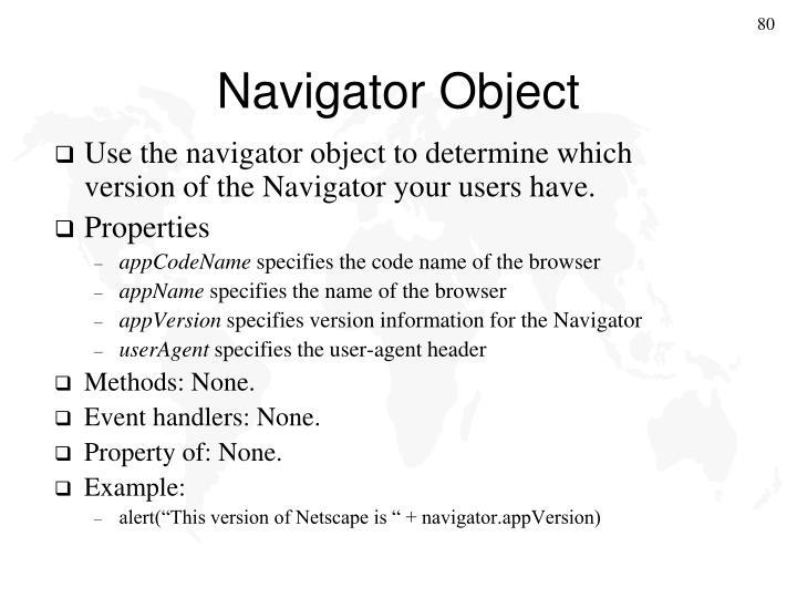 Navigator Object