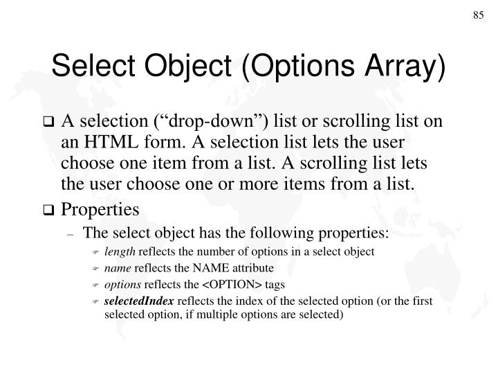 Select Object (Options Array)