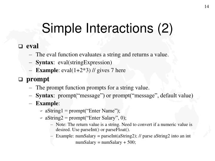 Simple Interactions (2)