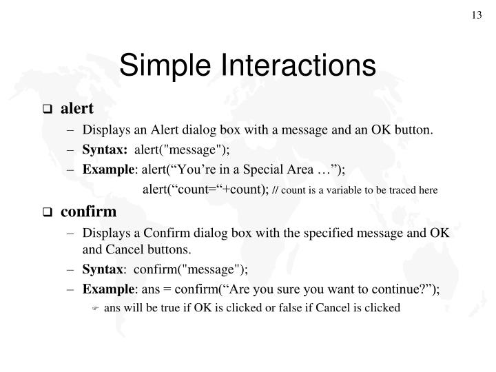 Simple Interactions
