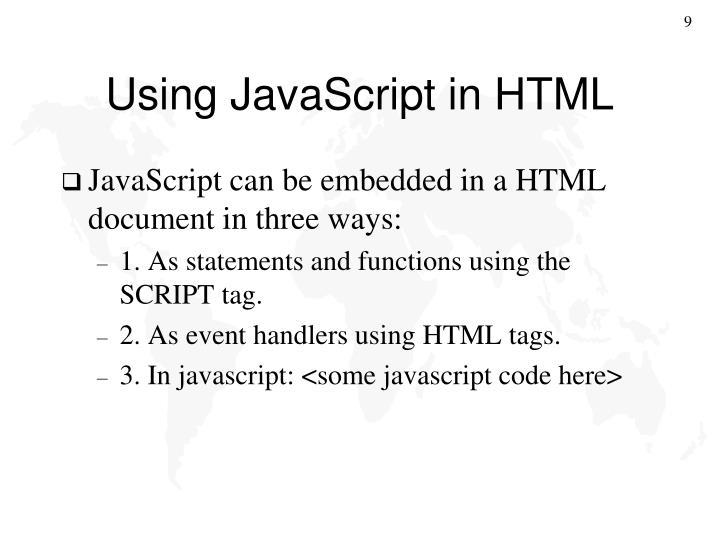 Using JavaScript in HTML