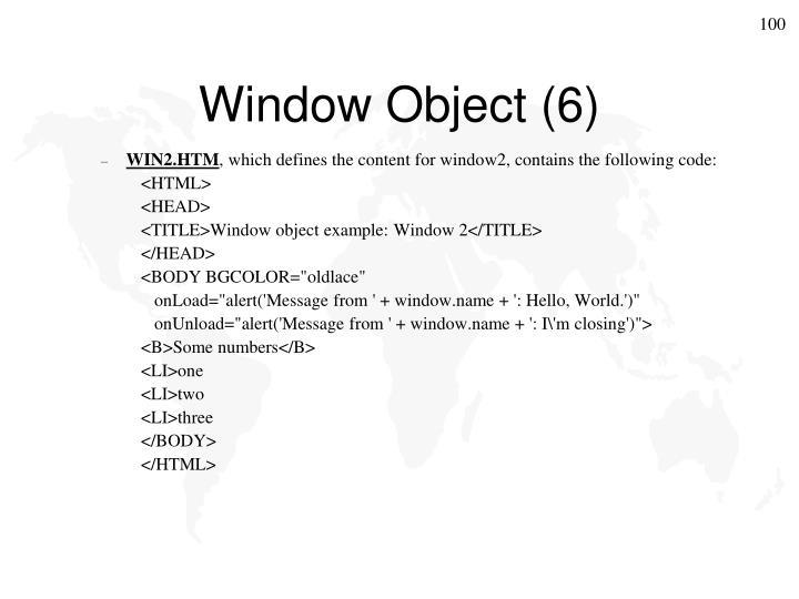 Window Object (6)