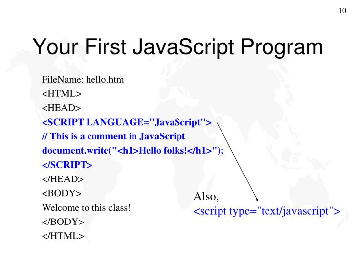 Your First JavaScript Program