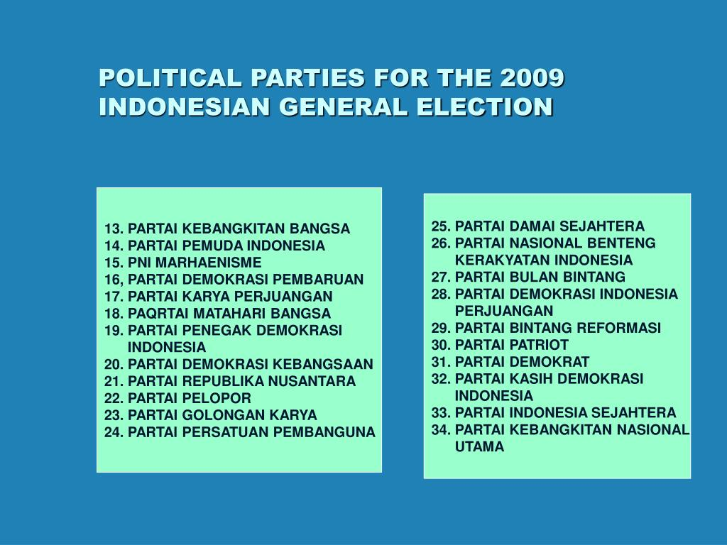 POLITICAL PARTIES FOR THE 2009 INDONESIAN GENERAL ELECTION