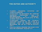 the duties and authority