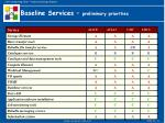 baseline services preliminary priorities