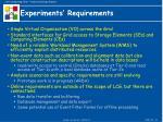 experiments requirements