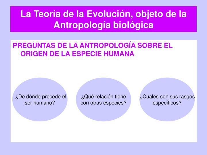 La Teoría de la Evolución, objeto de la Antropología biológica