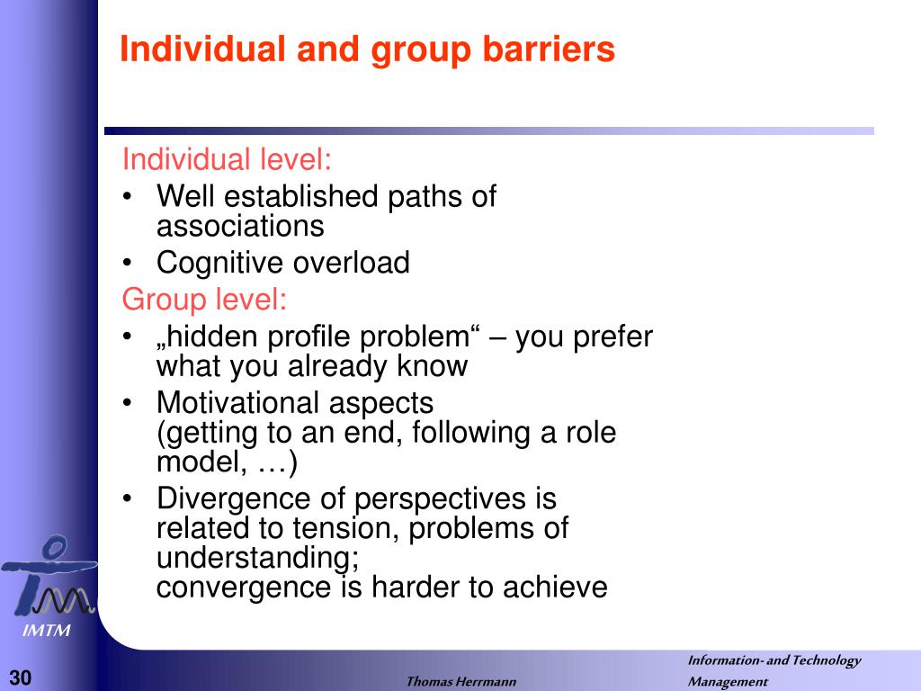 Individual and group barriers