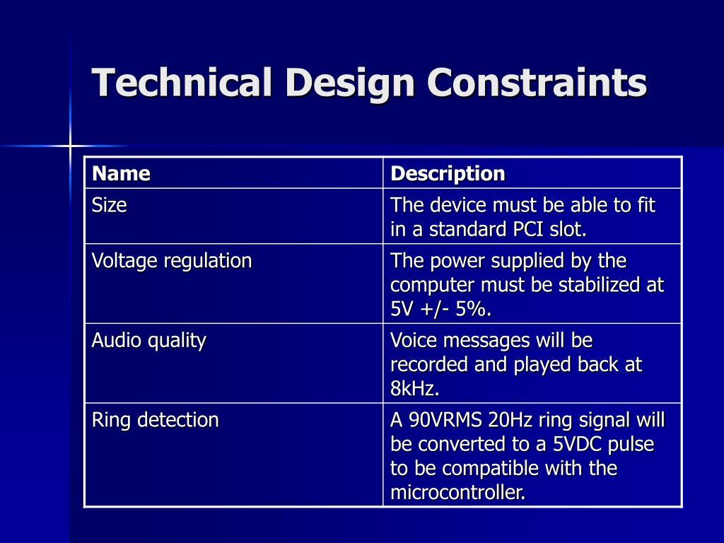 Technical Design Constraints