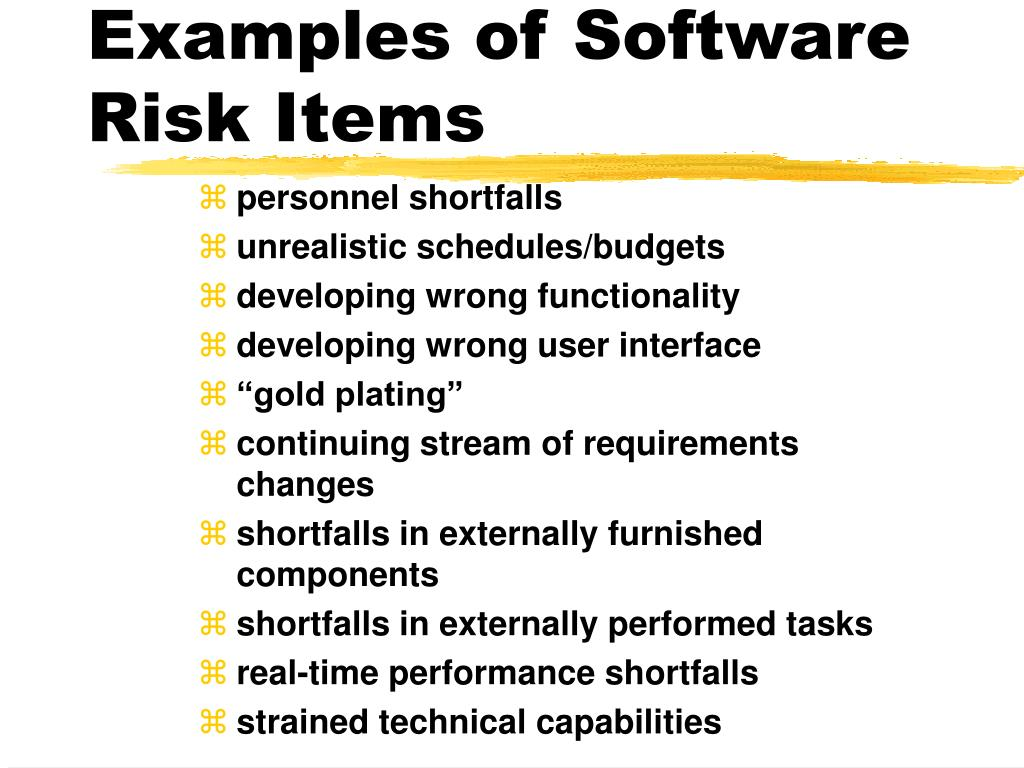 Examples of Software Risk Items