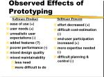 observed effects of prototyping