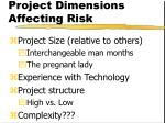 project dimensions affecting risk