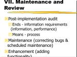 vii maintenance and review