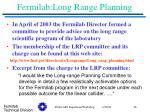 fermilab long range planning