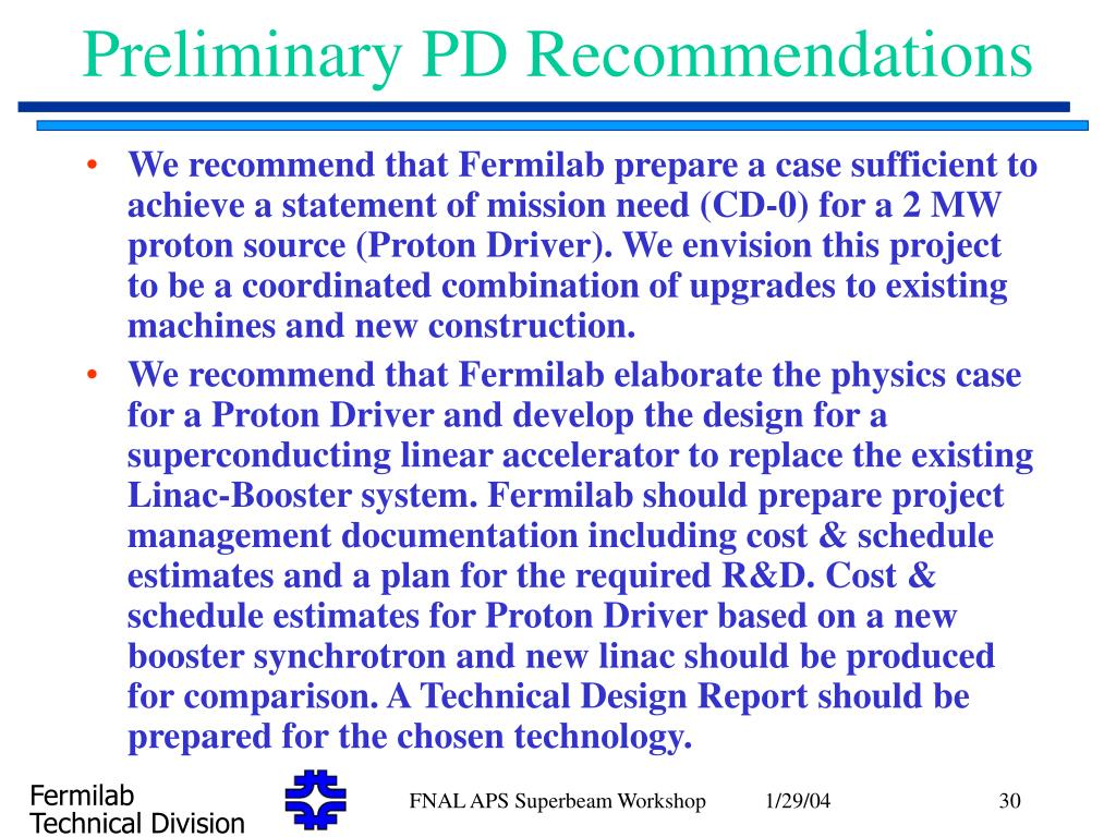 Preliminary PD Recommendations
