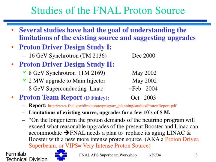 Studies of the fnal proton source