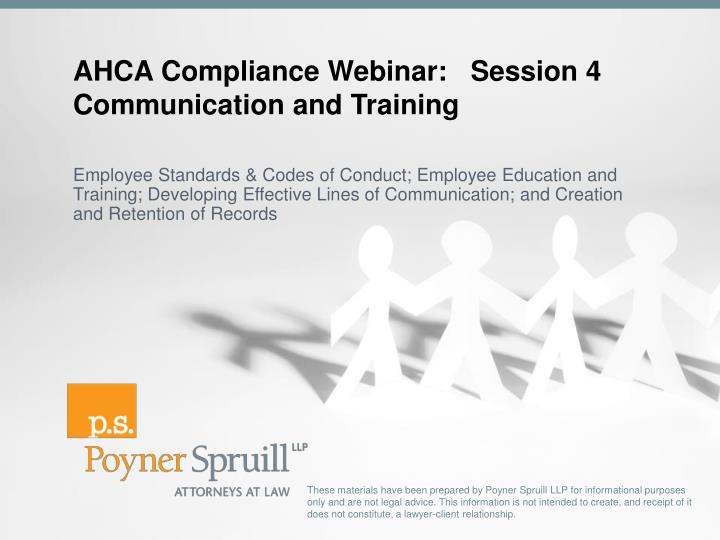 AHCA Compliance Webinar:   Session 4
