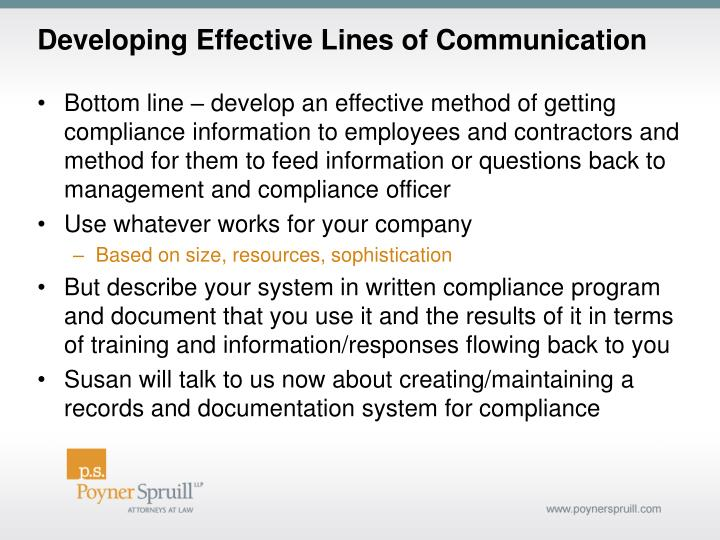 Developing Effective Lines of Communication