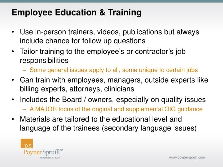 Employee Education & Training