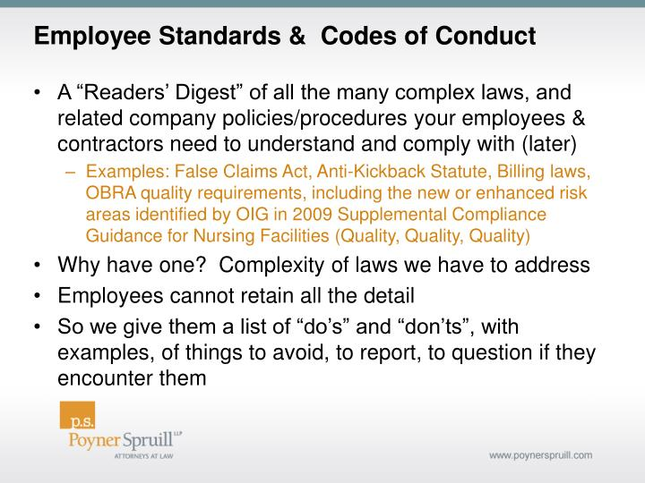 Employee Standards &  Codes of Conduct