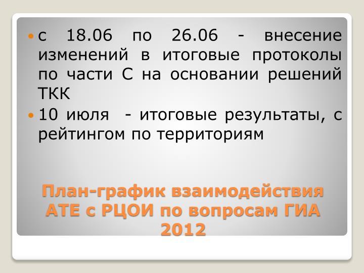 с 18.06 по 26.06 - внесение изменений в итоговые протоколы по части С на основании решений ТКК