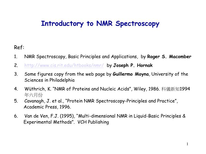 Ppt Introductory To Nmr Spectroscopy Powerpoint Presentation