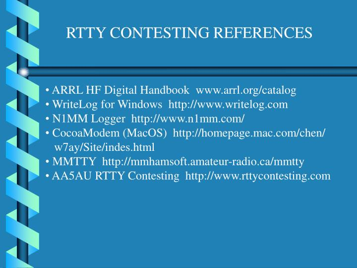 RTTY CONTESTING REFERENCES
