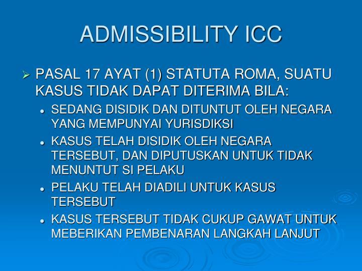 ADMISSIBILITY ICC